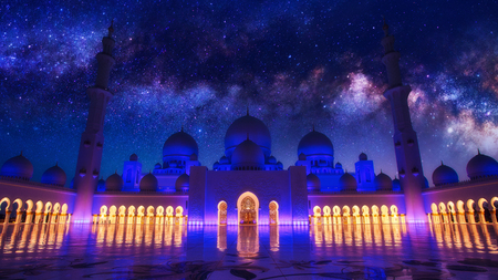 Sheikh Zayed Grand Mosque in Abu-Dhabi illuminated in the dusk. Milky Way galaxy on the sky