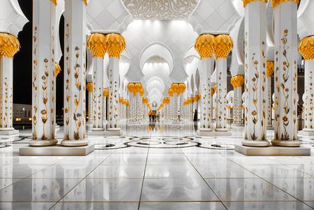 Sheikh Zayed Grand Mosque in Abu-Dhabi illuminated at night Editorial