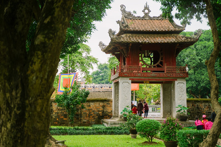 Temple of Literature in Hanoi city, Vietnam. Van Mieu