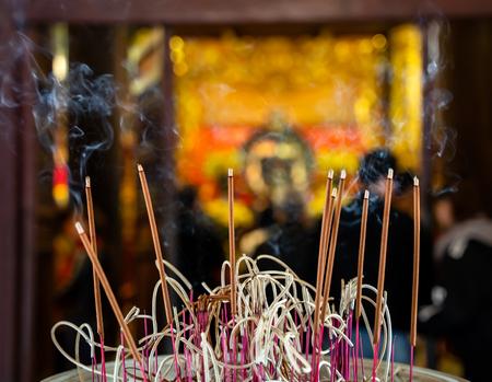 Temple of Literature in Hanoi city, Vietnam. Incense at Van Mieu Stock Photo