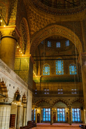 Interior of Sultan Ahmed Mosque (Blue Mosque) in Istanbul, Turkey Editorial