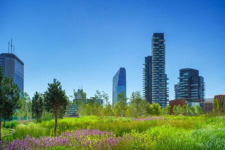 Milan city downtown Porta Nuova business district in Italy