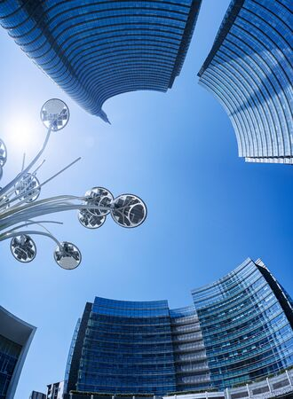 Downtown business urban background. Porta Nuova district in Milan city, Italy Stock Photo