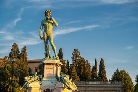 Bronze statue of David at Piazzale Michelangelo in the sunset Stock Photo