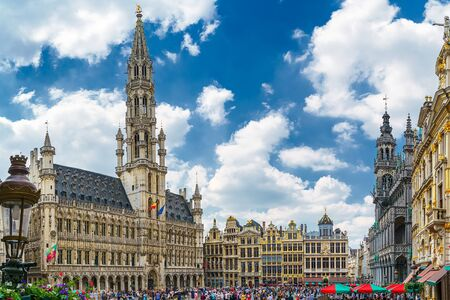 Central square near town hall in old town city of Brussels, Belgium in sunny day