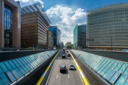 Rue de la Loi street road in City of Brussels at downtown business district in Belgium Stockfoto