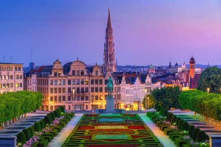 City of Brussels skyline in sunrise morning. Cityscape view from Kunstberg, Mont des Arts to city hall and central old town. Belgium, Europe