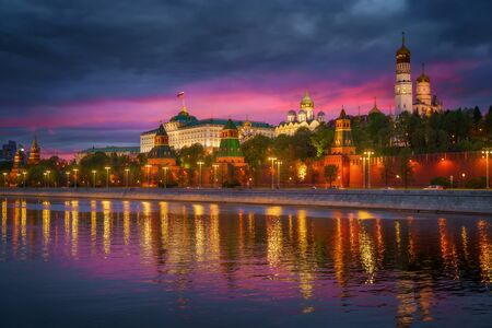 Moscow, Russia. Empty streets in the city center due quarantine COVID-19. Kremlin at sunset