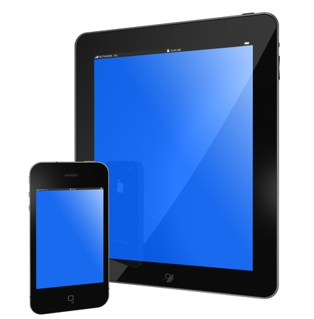 galati: Galati, Romania - April 1, 2011: New Apple iPad and iPhone black glossy, blue screen isolated on white