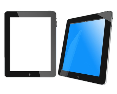 Galati, Romania - April 1, 2011: Two new Apple iPad black glossy and chromed, blue screen and white screen