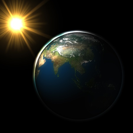 Sun Sunlight in space on blue earth Stock Photo - 9322351
