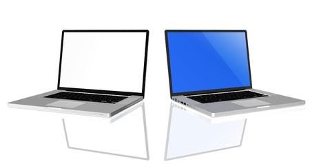 highend: Eseguire il rendering di alta qualit� di computer portatile di fascia alta grigio con schermo bianco