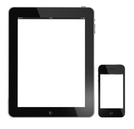 Galati, Romania - April 18, 2011: An Apple iPad and iPhone 4 isolated on a white background.4g