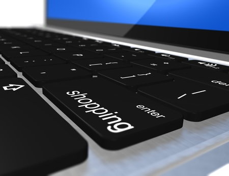 Image of a laptop with a keyboard shopping Stock Photo - 9828493
