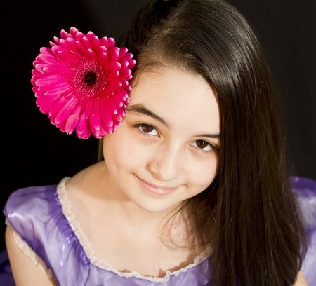 cute girl with long hair: Cute girl with pink flower
