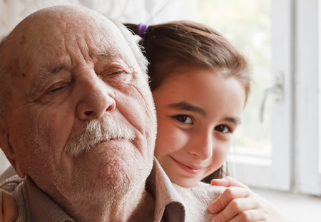 granddad: little granddaughter loving her grandfather