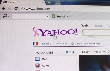 Galati, Romania - October 1, 2011: Part of Yahoo site in web browser on LCD screen. Yahoo was founded in California in 1995. It has its own search engine and provides free services. Yahoo was one of the first Web directories throughout the Internet. The w Stock Photo - 10739025