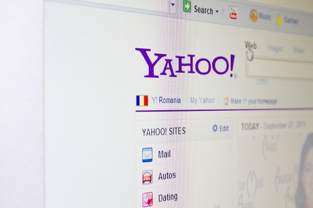 yahoo: Yahoo website on monitor screen