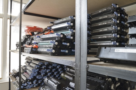 refill: many laser cartridges on the shelves