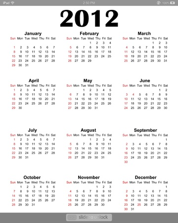 Calendar 2012 on white screen for iPad