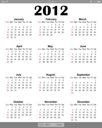 ipad2: Calendar 2012 on white screen for iPad