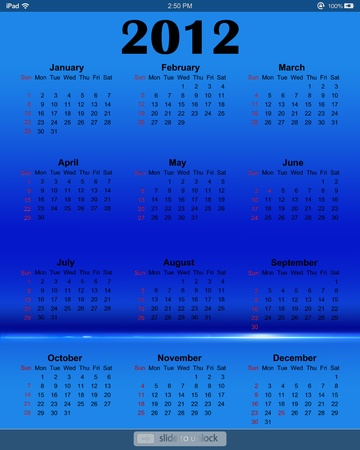 Calendar 2012 on blue screen for iPad Editorial
