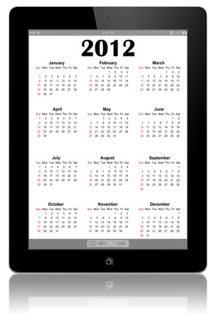 This is a calendar for 2012 in IPad.