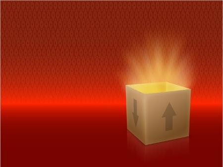 Caja blanca con tapa Revelar algo muy brillante sobre un fondo rojo