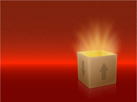 free images stock: White Box with Lid Revealing Something Very Bright on a red Background Illustration