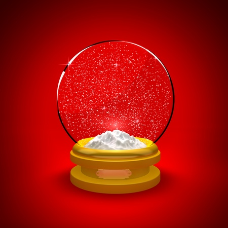 Snow globe with snow only against a red background