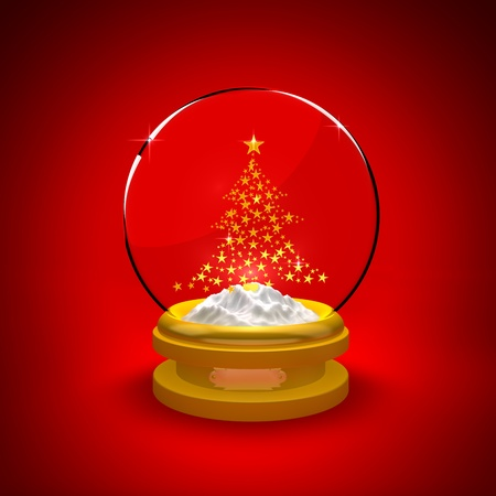 Snow Globe with Christmas tree on red background photo