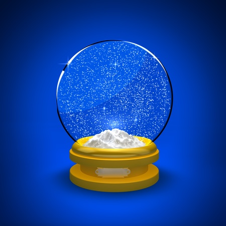 Snow globe with snow only against a blue background photo