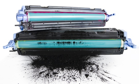 inkjet printer: Refurbished Printer Cartidge. Cylinder Replacement And Toner Refill Stock Photo