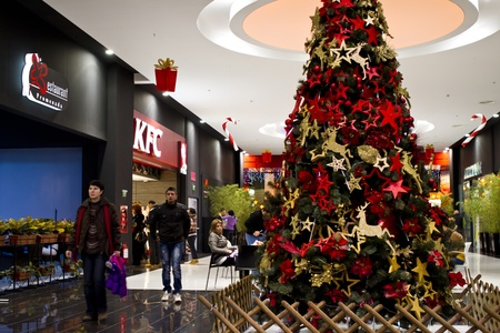 franchises: Braila, Romania- December 10, 2011: One of so many KFC stores in Romania, KFC is one of the most popular American franchises in Romania. Editorial