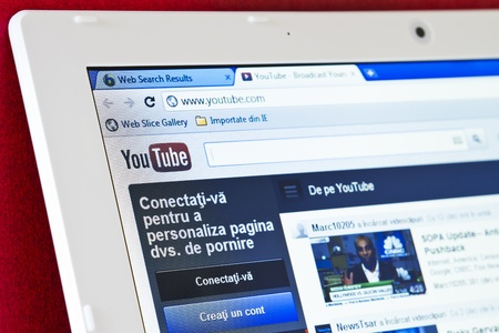 Galati, RO - JAN  31: YouTube turned 7 years old this year and announced that it gets 3 billion views per day and 48 hours of video uploaded per minute on January 31, 2012 in Galati, Romania Stock Photo - 12147465