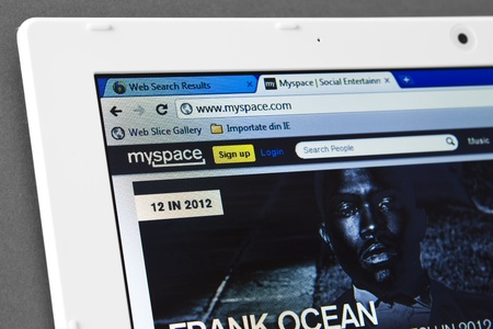 galati: Galati, Romania - January 12, 2012 :Close up of MySpace web page on the web browser. MySpace is widely used social networking website on January 12, Galati, Romania