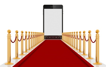 red carpet event: Smart-phone on red carpet entrance with the stanchions and the ropes