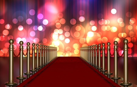 red carpet entrance with the stanchions and the ropes  Multi Colored Light Burst over curtain Stock Photo