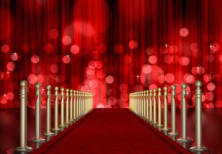 red carpet entrance with the stanchions and the ropes  Red Light Burst over curtain photo