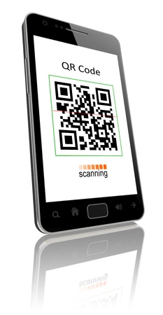 include: smartphone showing QR code scanner on the screen  Include clipping path for phone and screen  Stock Photo