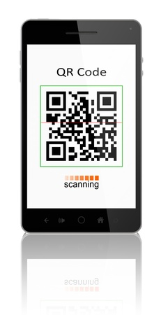 smartphone showing QR code scanner on the screen  Include clipping path for phone and screen Stock Photo - 14129231