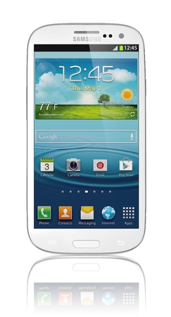 Samsung Galaxy S III Launches In 28 Countries in 2012. Latest phone runs off the latest Android OS, Ice Cream Sandwich (4.0.4), and is powered by a 1.4 GHz quad-core processor, a 2100 mAh battery and  has a 4.8-inch AMOLED display with a HD resolution of  Stock Photo - 14223778