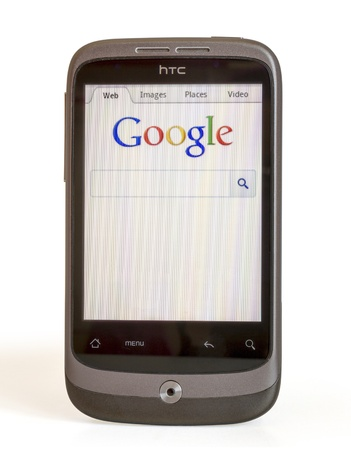 HTC SHOWING HOME PAGE GOOGLE Stock Photo - 14681902