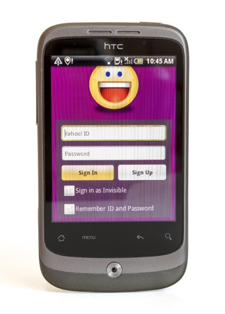 HTC DESIRE HD SHOWING YAHOO MESSENGER Stock Photo - 14681906