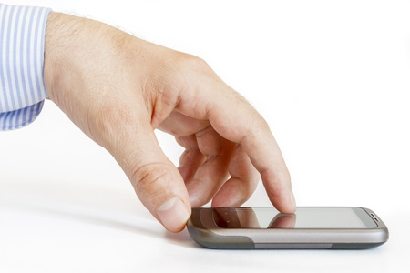 Man hands are pointing on touch screen device Stock Photo - 14725230