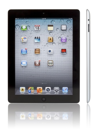Galati, Romania- August 20, 2012: Wi-Fi + 4G iPad 3 with iOS 5.1 by Apple Inc, the third generation iPad was released for sale by Apple Inc on March 16, 2012. The New iPad 3 boasts a stunning retina display, a beefed up A5X dual-core processor, quad-core  Stock Photo - 14904726