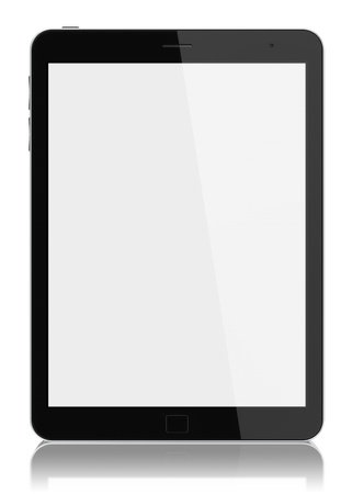 pad: Digital tablet PC with blank screen isolated on white.