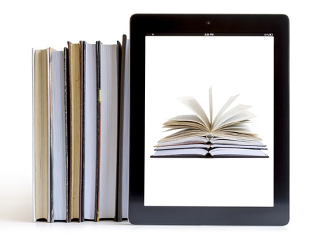 open Books on tablet computer isolated on white, digital library concept,  Standard-Bild