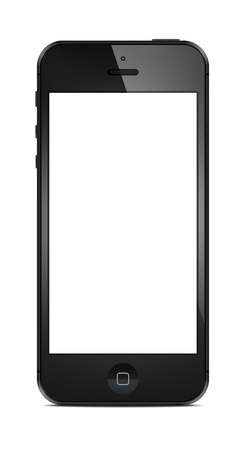 New Modern iPhone 5 with blank screen isolated on white. Include clipping path for phone and screen.