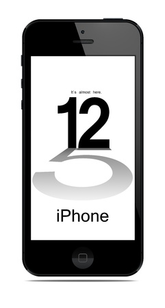 Galati, Romania- September 12, 2012: New Apple iPhone 5 was released for sale by Apple Inc on September 12, 2012.  Publikacyjne
